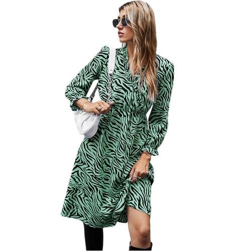 Green Zebra Print Tie Waist Long Sleeve Dress TQK310412-9