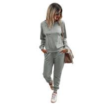 Light Gray Lightning Print Sweatershirt with Pant Set TQK710168-25