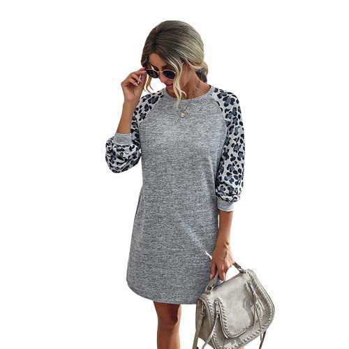 Light Gray Splice Leopard Long Sleeve Dress TQK310414-25
