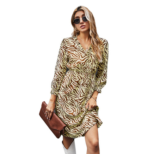 Khaki Zebra Print Tie Waist Long Sleeve Dress TQK310412-21