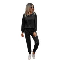 Black Lightning Print Sweatershirt with Pant Set TQK710168-2