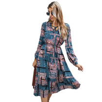 Blue Contrast Totem Print Long Sleeve Dress TQK310411-5