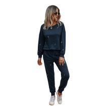 Navy Blue Lightning Print Sweatershirt with Pant Set TQK710168-34