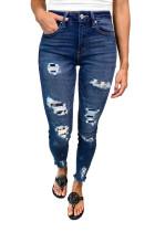 Dark Blue Leopard Patch Distressed Skinny Jeans LC78403-5