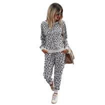 White Leopard Print Long Sleeve Sweatshirt with Pant Set TQK710168-1