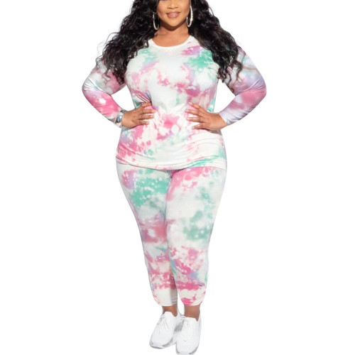 Light Green Tie Dye Print Plus Size 2pcs Loungewear Pajama Set TQK710169-28