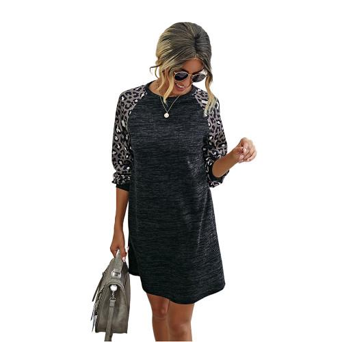 Black Splice Leopard Long Sleeve Dress TQK310414-2