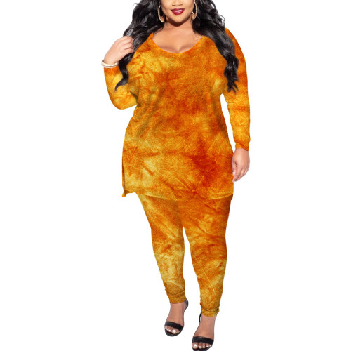All Over Orange Tye Dye Plus Size Longewear Set TQK710170-14