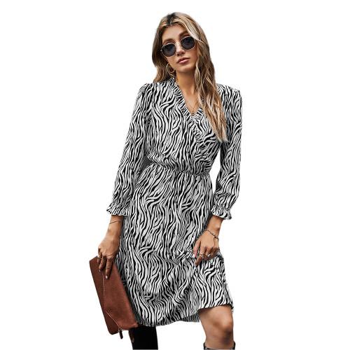 Black White Zebra Print Tie Waist Long Sleeve Dress TQK310412-37