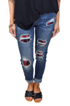 Red Plaid Patch Destroyed Skinny Jeans LC78256-5