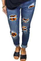Halloween Print Patch Destroyed Skinny Jeans LC78256-14