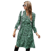 Green Zebra Print Tie Waist Long Sleeve Dress TQK310412-9