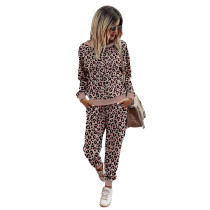 Pink Leopard Print Long Sleeve Sweatshirt with Pant Set TQK710168-10
