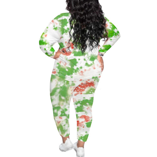 Green Tie Dye Print Plus Size 2pcs Loungewear Pajama Set TQK710169-9