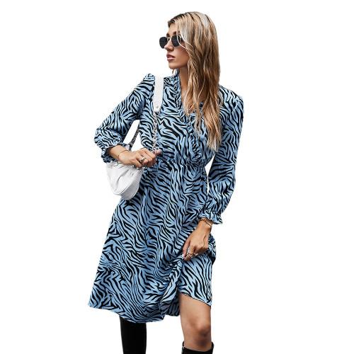 Blue Zebra Print Tie Waist Long Sleeve Dress TQK310412-5