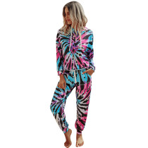 Blue All Over Tie Dye Hoodie with Pant Set TQK710167-5