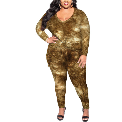 All Over Brown Tye Dye Plus Size Longewear Set TQK710170-17