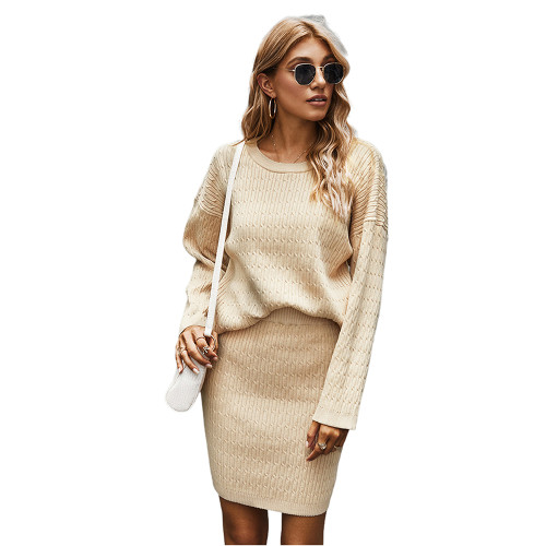 Apricot Long Sleeve Sweater with Skirt Set TQK710164-18