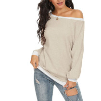 Apricot Off the Shoulder Long Sleeve Top TQK210503-18