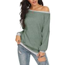 Green Off the Shoulder Long Sleeve Top TQK210503-9