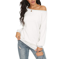White Off the Shoulder Long Sleeve Top TQK210503-1