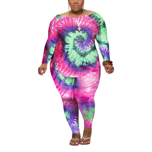 Pink Swirl Tie Dye Print Plus Size Two-Piece Set TQK710172-10