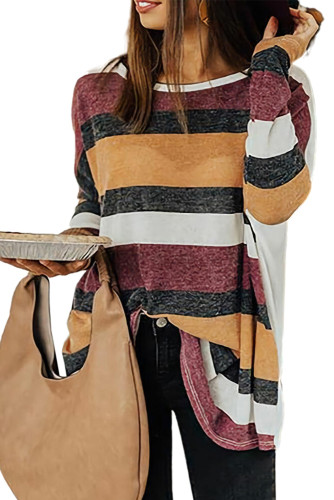 Round Neck Colorful Stripe Tunic Top LC2512964-1
