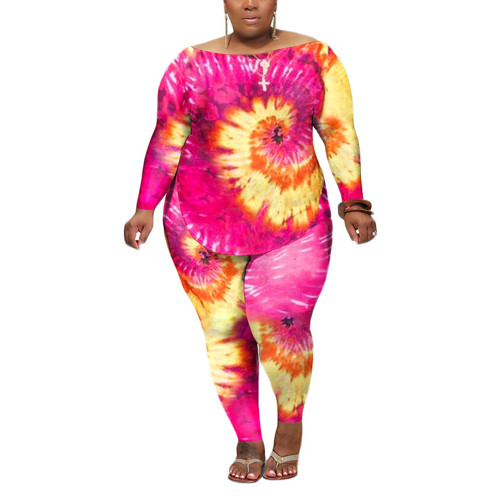 Rosy Swirl Tie Dye Print Plus Size Two-Piece Set TQK710172-6