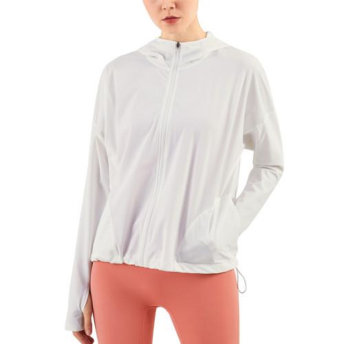 White Zipper Hooded Loose Sports Yoga Jacket TQE37029-1
