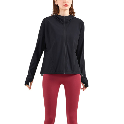 Black Zipper Hooded Loose Sports Yoga Jacket TQE37029-2