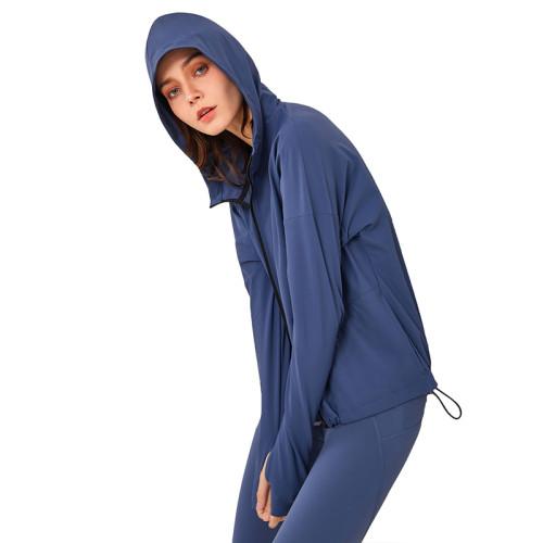 Blue Zipper Hooded Loose Sports Yoga Jacket TQE37029-5