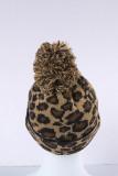 Brown Leopard Pom Beanie LC02113-17