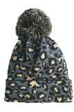 Gray Leopard Pom Beanie LC02113-11