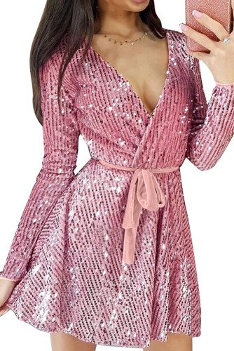 Pink Sequin Deep V Long Sleeve Evening Dress with Waist Tie LC222823-10