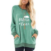Green Mama Bear Print Pocketed Sweatshirt TQK230263-9