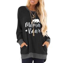 Black Mama Bear Print Pocketed Sweatshirt TQK230263-2