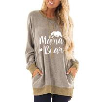 Khaki Mama Bear Print Pocketed Sweatshirt TQK230263-21
