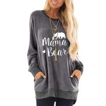 Gray Mama Bear Print Pocketed Sweatshirt TQK230263-11