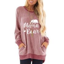 Pink Mama Bear Print Pocketed Sweatshirt TQK230263-10