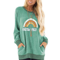 Green Letter & Rainbow Print Pocketed Sweatshirt TQK230264-9