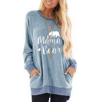 Light Blue Mama Bear Print Pocketed Sweatshirt TQK230263-30