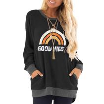 Black Letter & Rainbow Print Pocketed Sweatshirt TQK230264-2