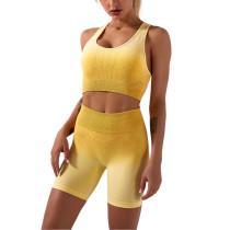 Yellow Ombre Yoga Sports Bra Shorts Set TQK710174-7