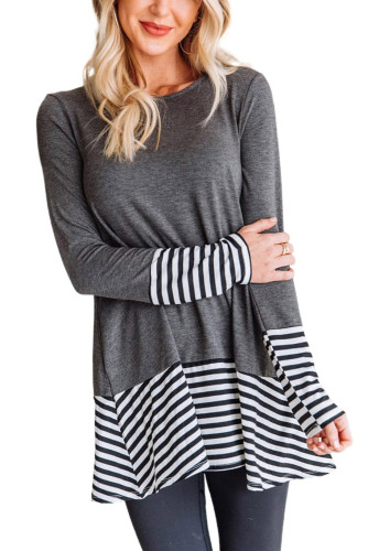 Striped Patchwork Gray Tunic Top LC2512687-11