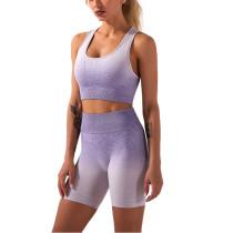 Purple Ombre Yoga Sports Bra Shorts Set TQK710174-8