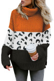 Orange Turtleneck Splicing Chunky Knit Pullover Sweater LC272502-14