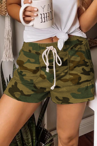 Green Camouflage Drawstring Casual Shorts LC77923-9
