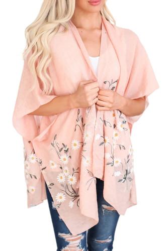 Pink Spring Daisy Woven Kimono LC254253-10