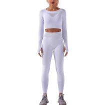 Light Gray Sportswear Long Sleeve Yoga Pant Set TQK710179-25