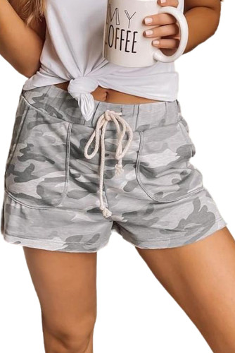 Gray Camouflage Drawstring Casual Shorts LC77923-11